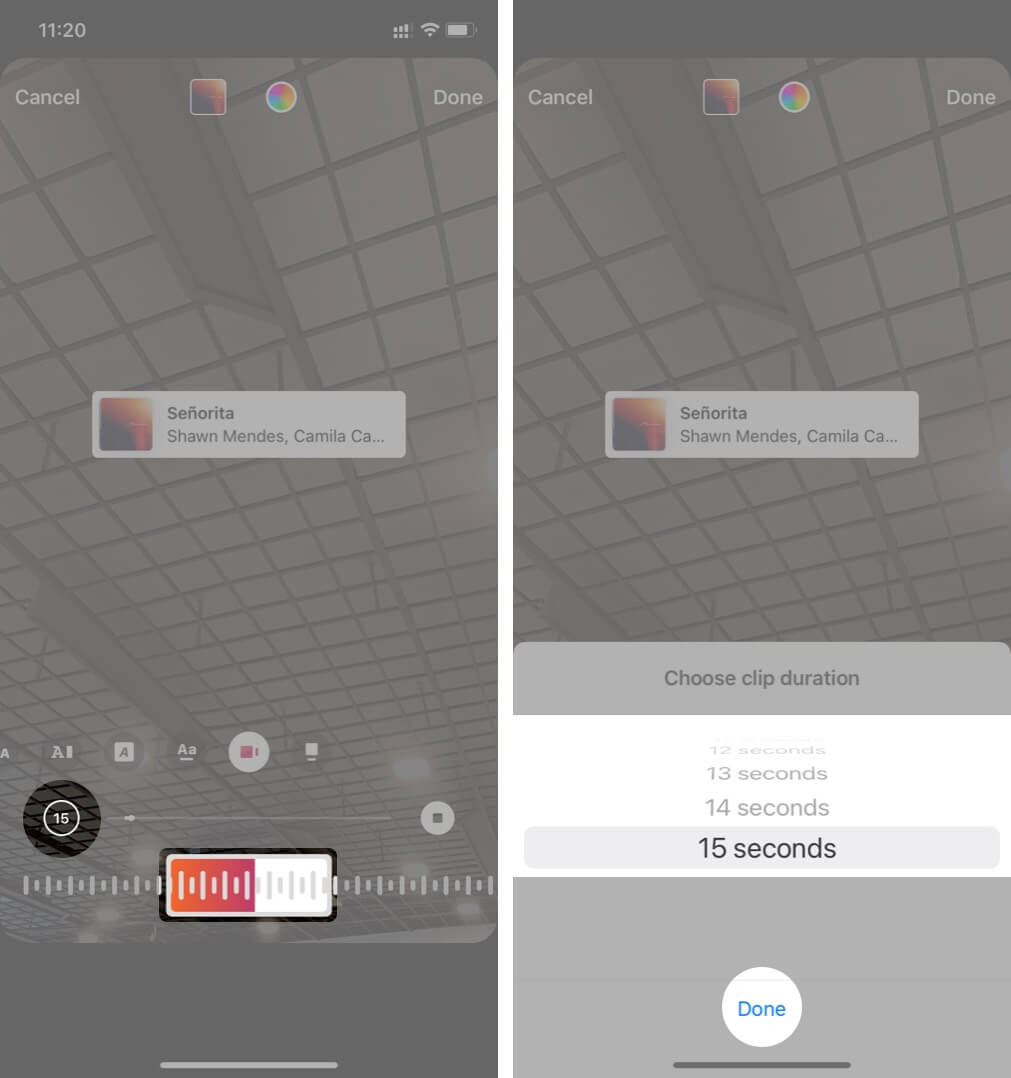 Adjust Slider and Tap on Time to Change Clip Duration