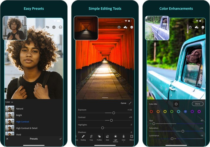 adobe lightroom photo editor iphone and ipad app screenshot