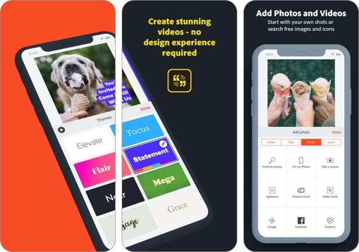 adobe spark video iphone app screenshot