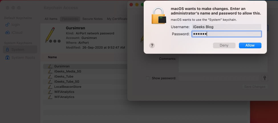 Again Enter Login Details and Click on Allow to Find WiFi Password on Mac Using Keychain Access