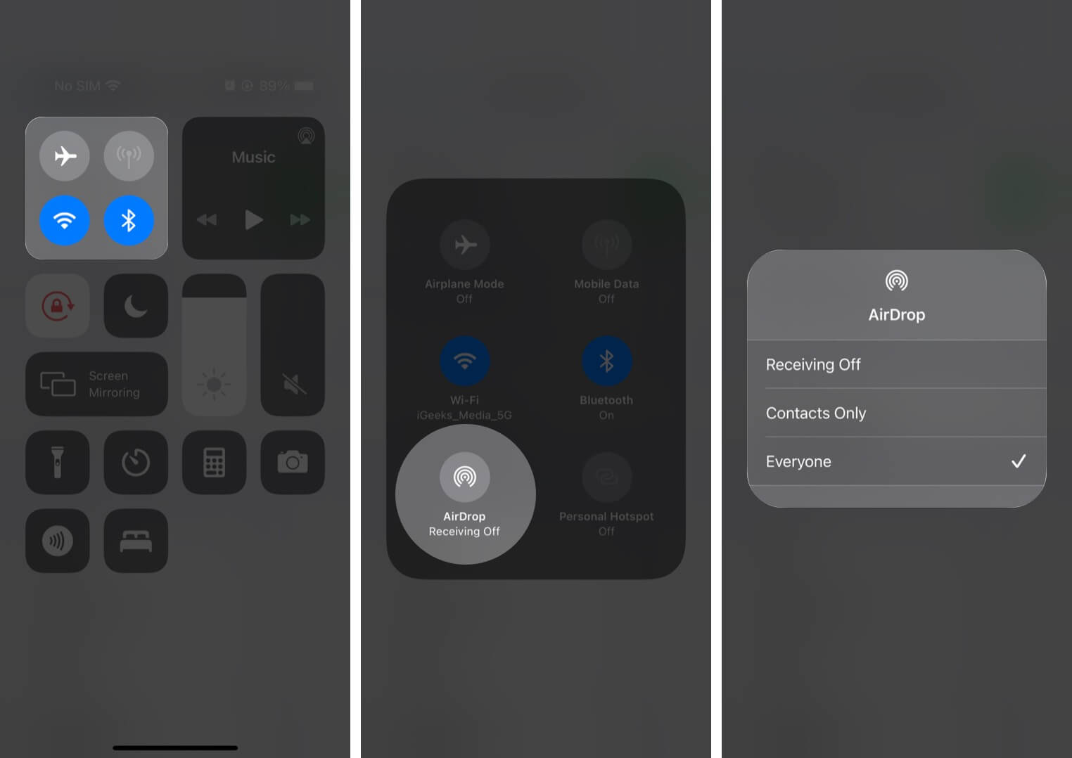 Allow AirDrop for Everyone in Control Center on iPhone