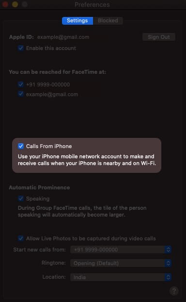 Allow Calls from iPhone on Mac