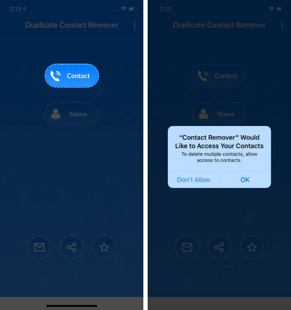 allow duplicate contact remover to access contacts of your iphone