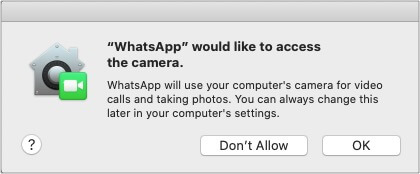 Allow WhatsApp to access Mac microphone and camera