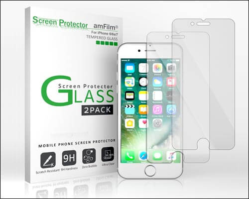 amFilm iPhone 6, 6s, and 7 Tempered Glass Screen Protector