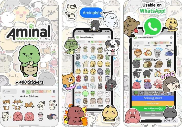 Aminal Stickers iPhone and iPad App Screenshot