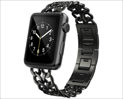 AmzAokay Cowboy Chain Strap Stainless Steel Band for Apple Watch Series 6, SE, 5, 4, and 3