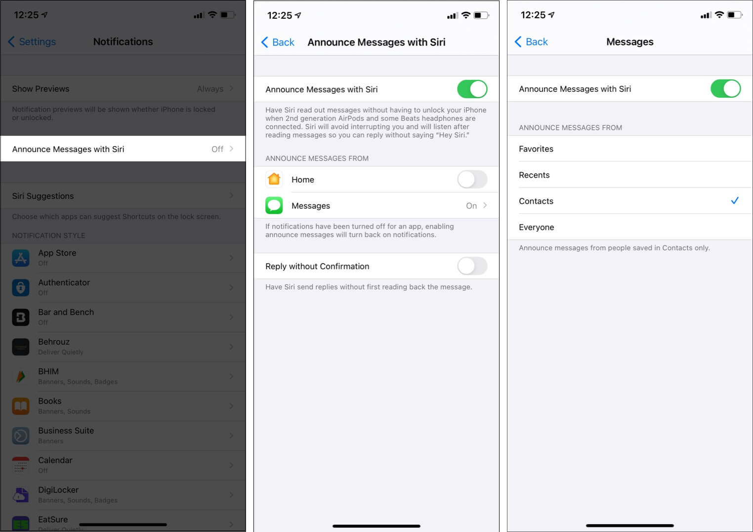 Announce Messages with Siri