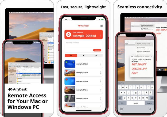 anydesk iphone and ipad remote desktop app screenshot