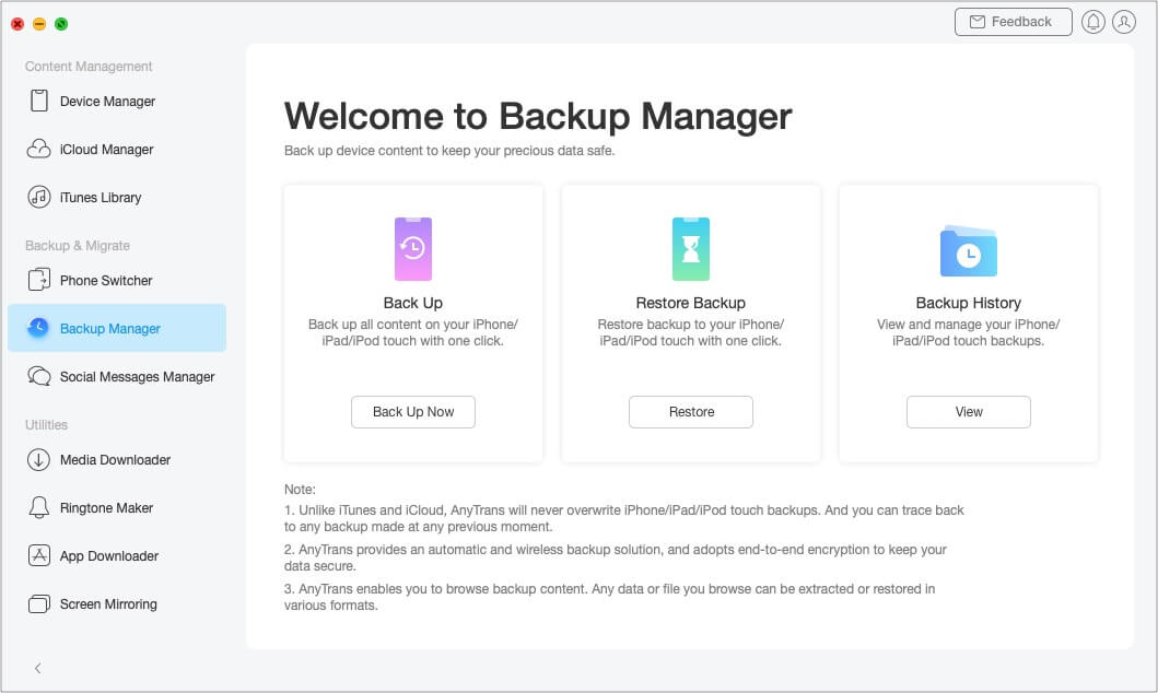 AnyTrans as an iPhone Backup Manager