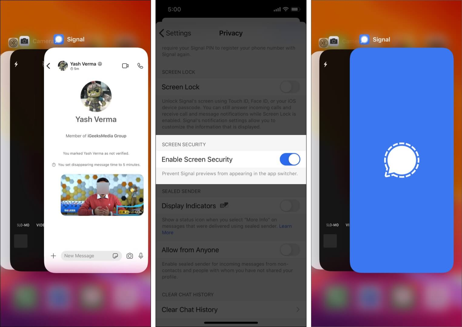 App Switcher screen security in Signal