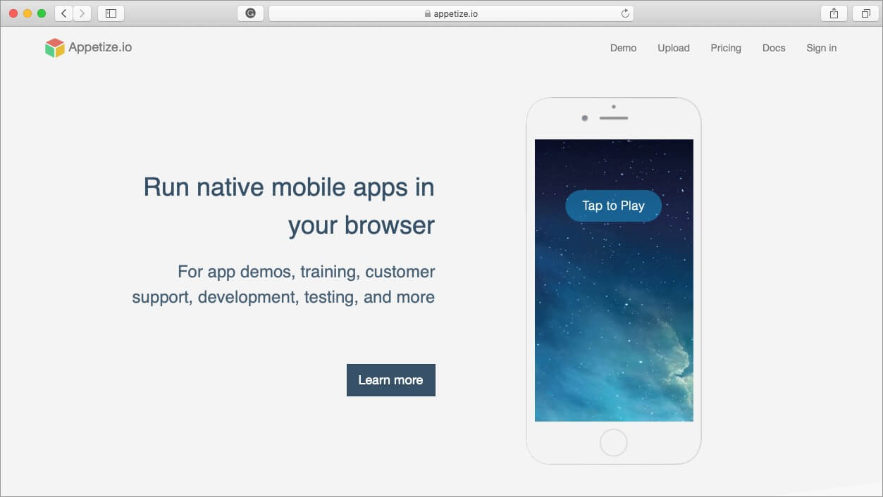 appetize ios emulator for mac and windows pc