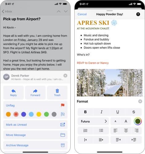 apple mail iphone and ipad app screenshot