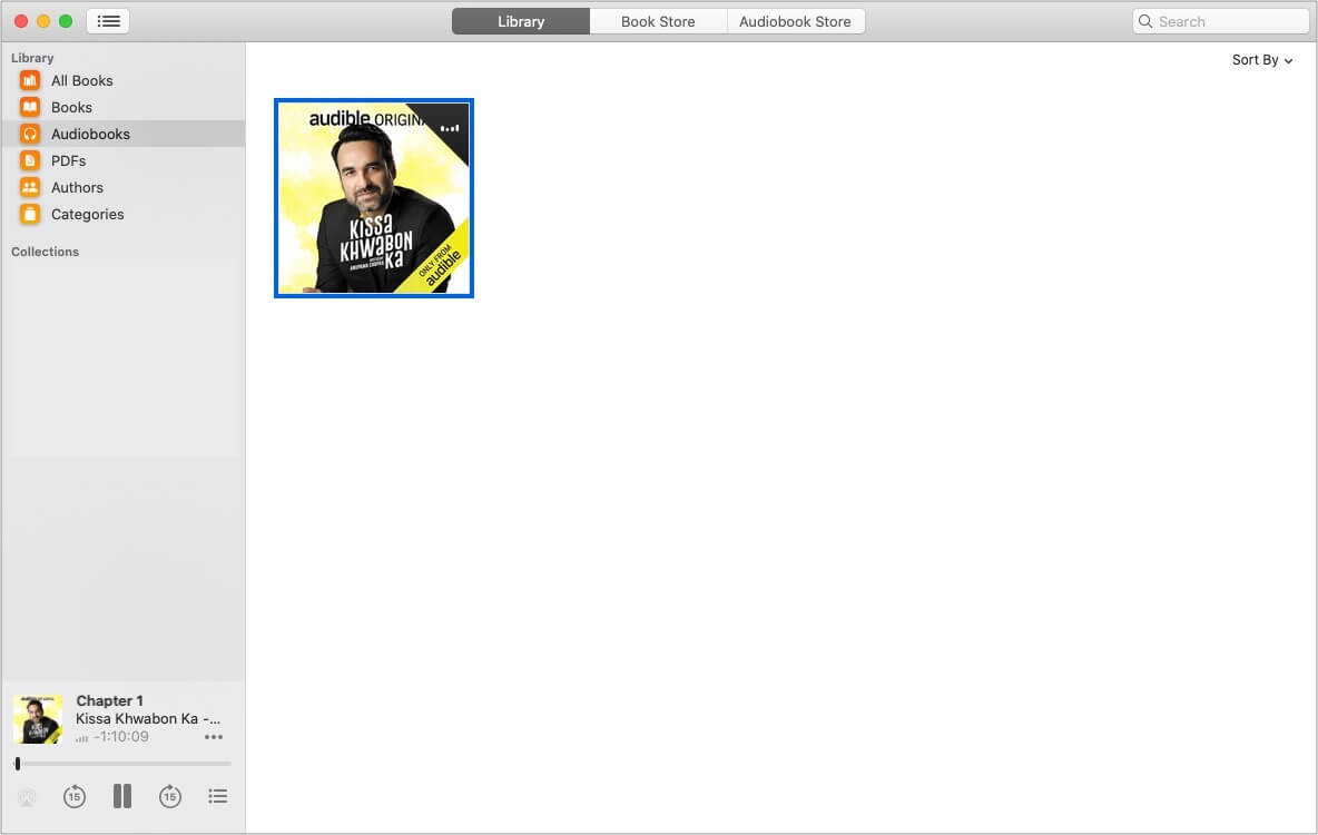 Audible audiobooks playing in Books app on Mac