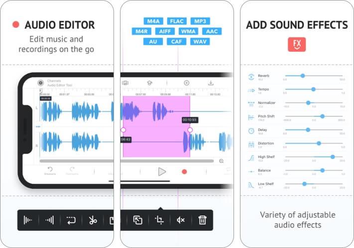 Audio Editor Tool iPhone and iPad App Screenshot