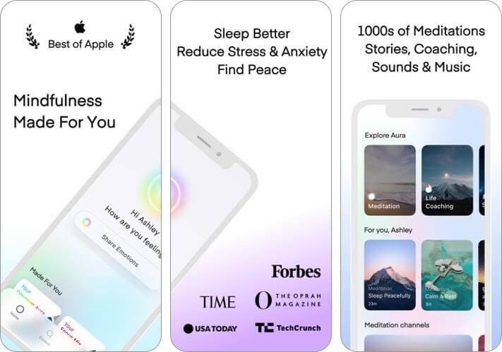 aura: meditation & sleep iphone and ipad ai app screenshot