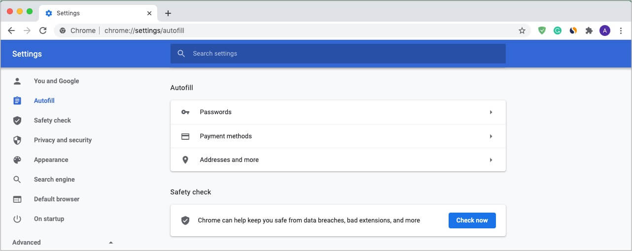 Autofill passwords, address, emails in Chrome