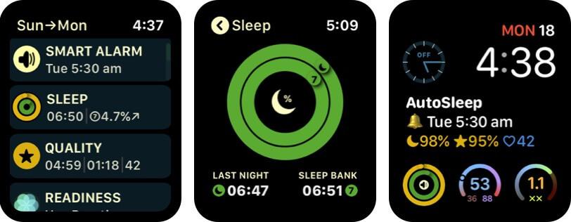 autosleep track sleep apple watch alarm app screenshot
