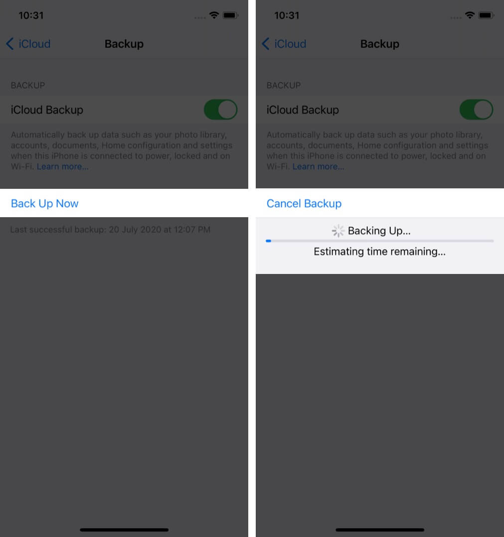 Backup Your iPhone on iCloud