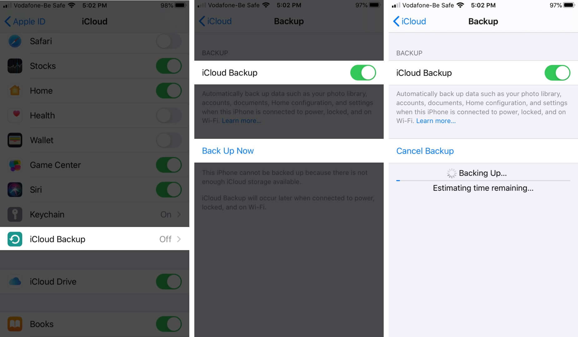 backup your iphone to icloud