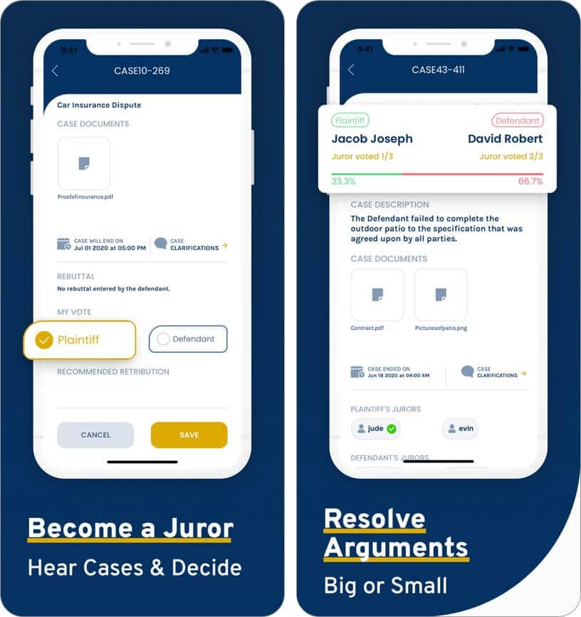 become juror and resolve disputes on jury app