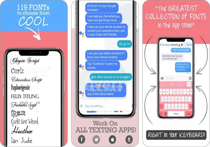 better font-s cool keyboard-s iphone and ipad app screenshot