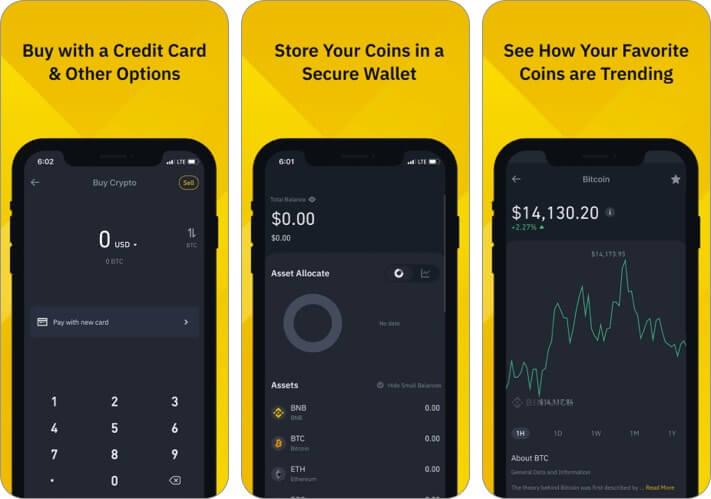 Binance Cryptocurrency iPhone and iPad App Screenshot