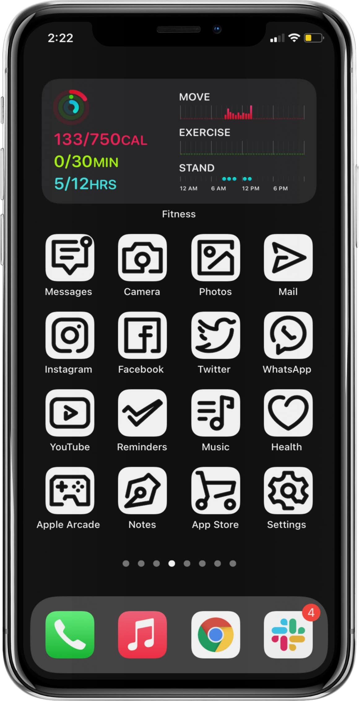 black & white aesthetic app icon set for iphone runnng ios 14