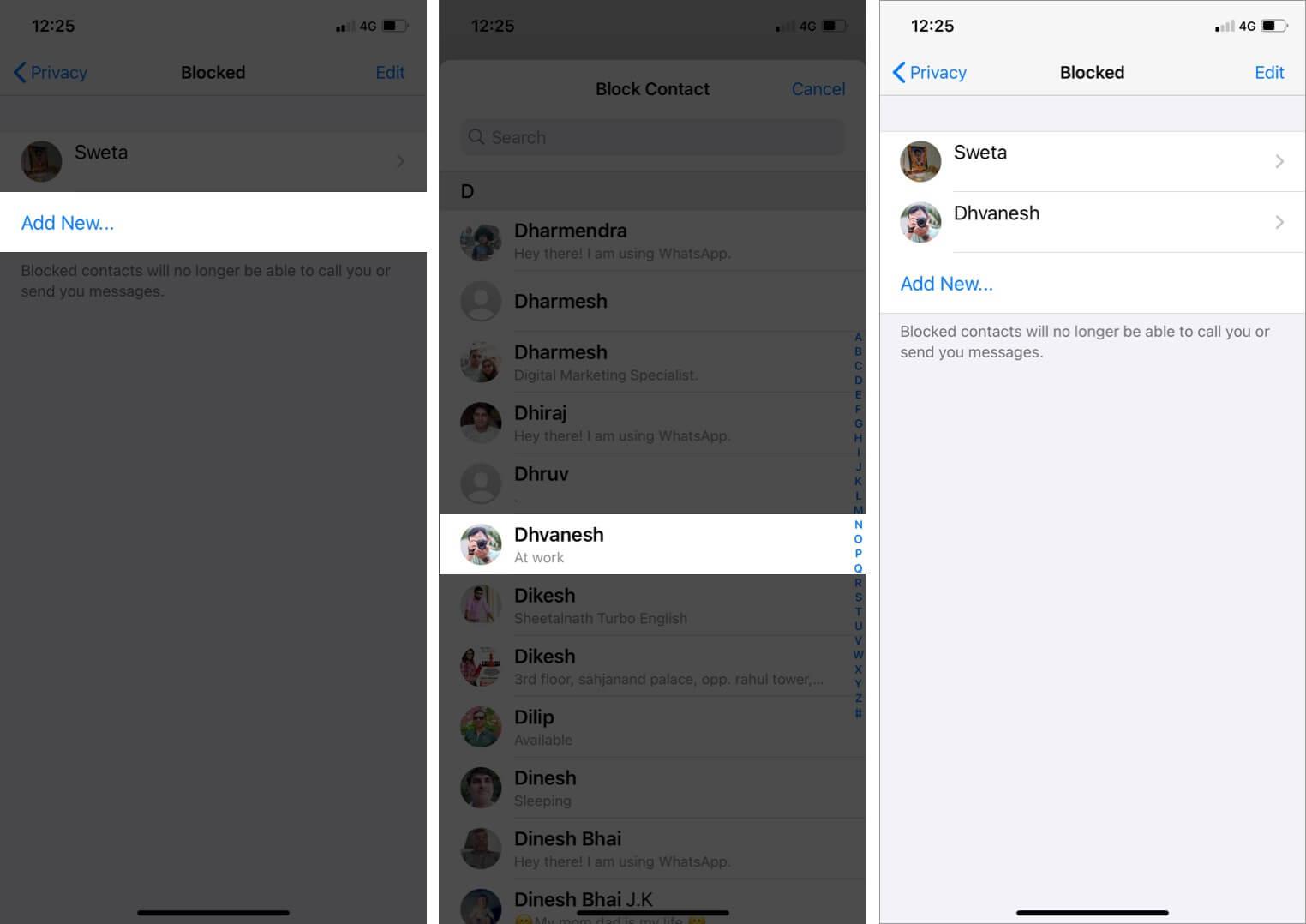 block contact via whatapp settings on iphone