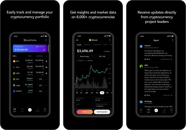 Blockfolio Cryptocurrency iPhone and iPad App Screenshot