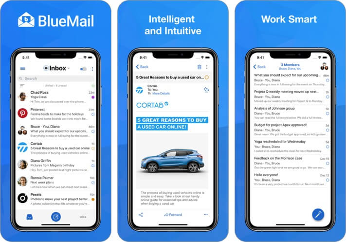 bluemail iphone and ipad email app screenshot