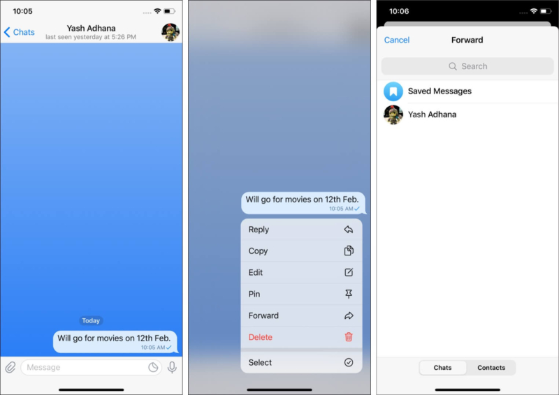 Bookmark or save Telegram messages for later