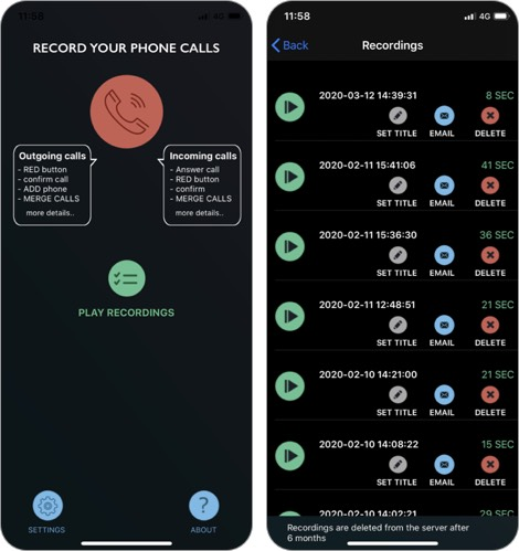 callrec lite intcall iphone call recorder app screenshot
