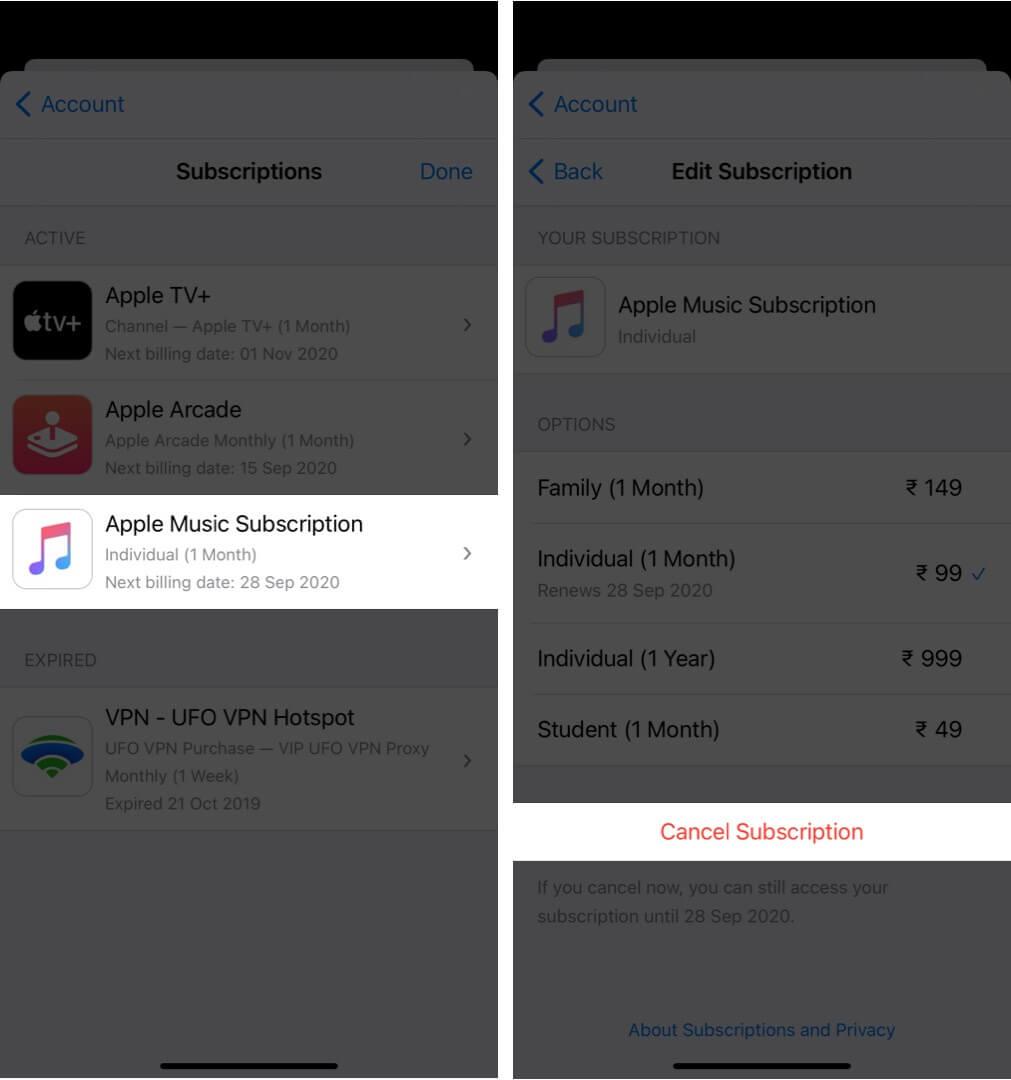 cancel apple music subscription on iphone