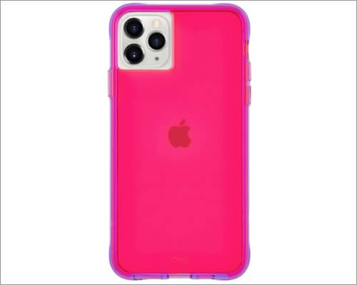 case-mate tough neon designer case for iphone 11, 11 pro and 11 pro max