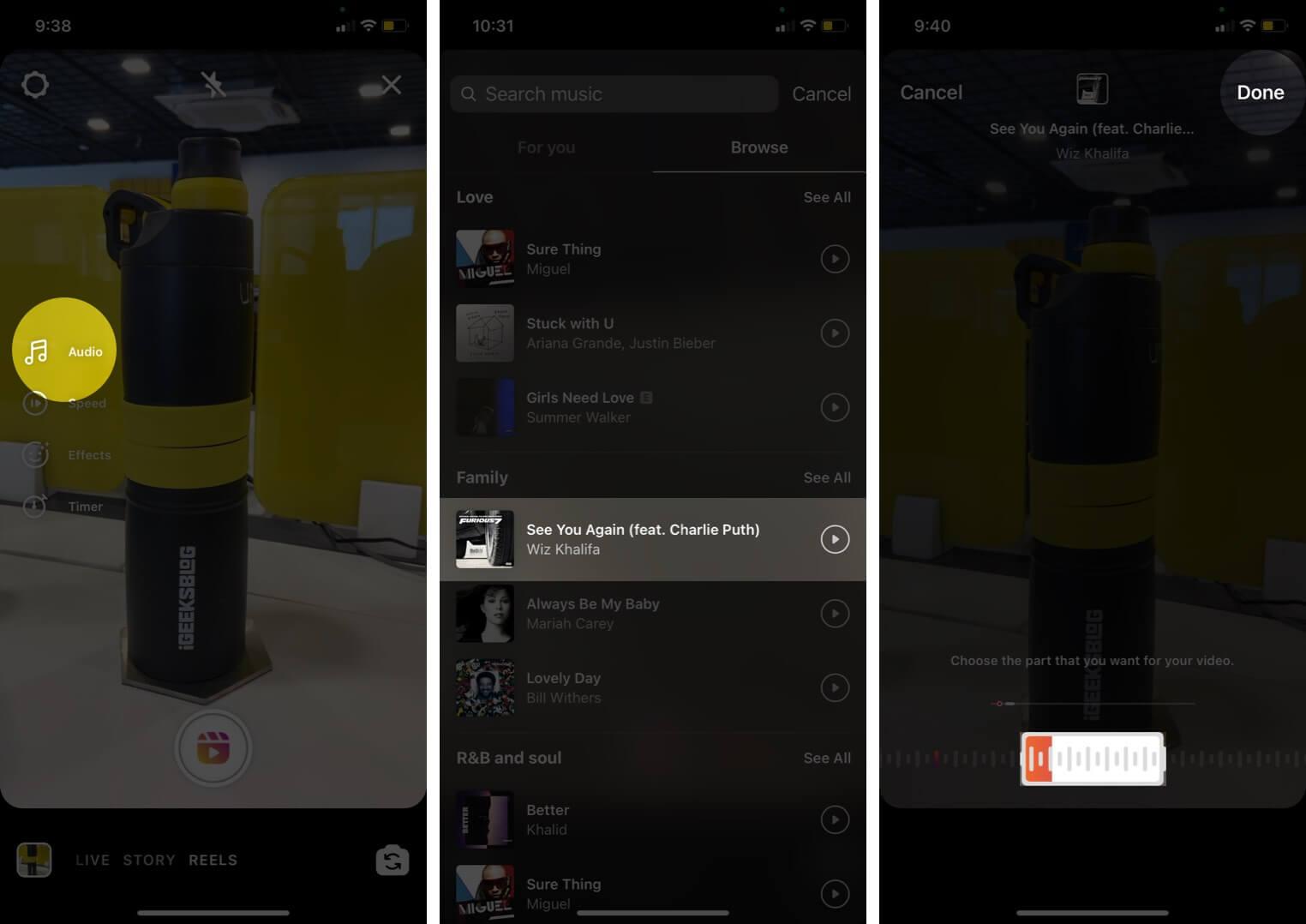 change audio for instagram reel on iphone