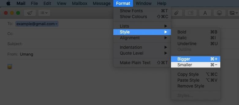 change emoji size in email on mac