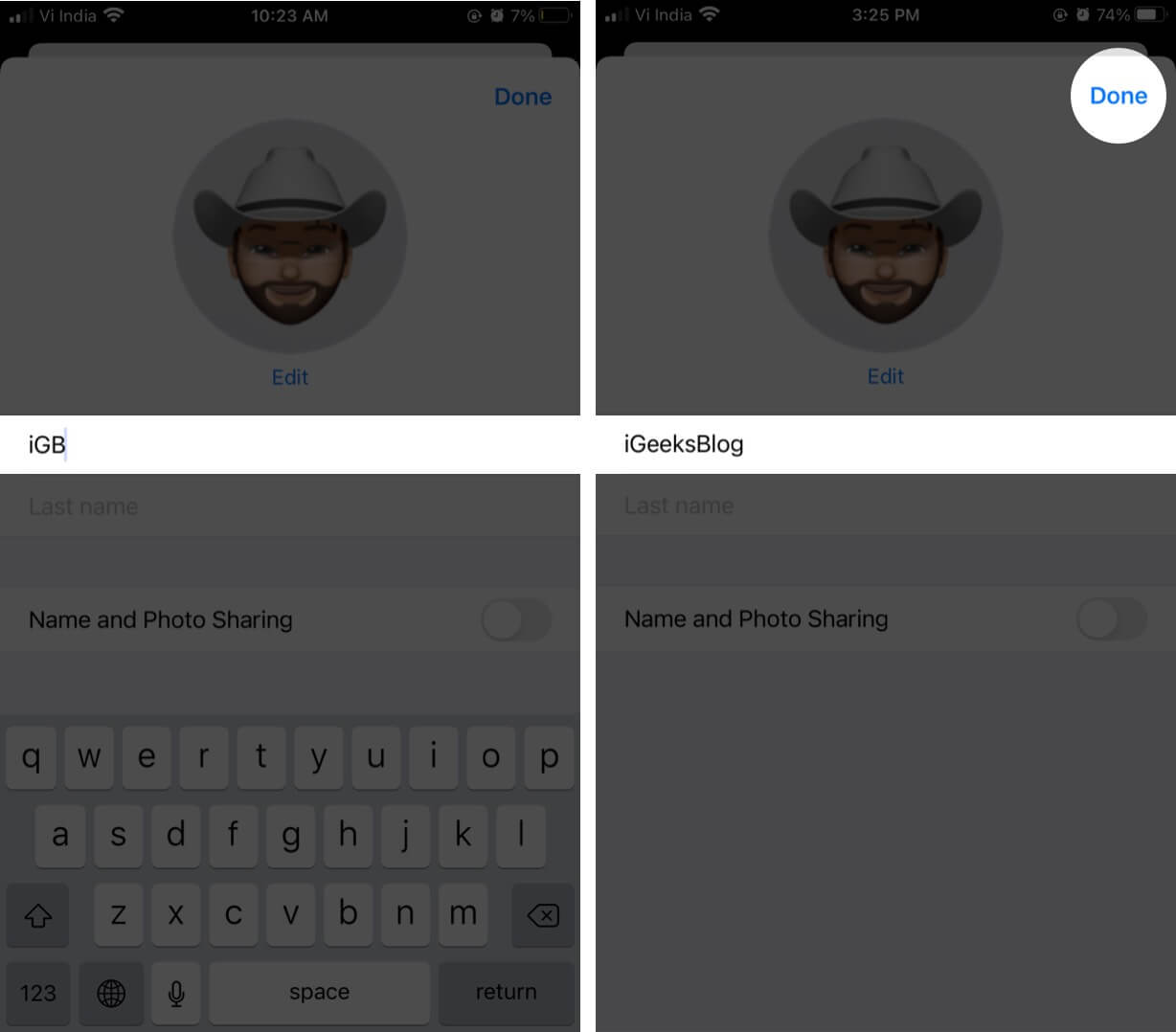 Change Name and Tap on Done to Set Custom Name with iMessage on iPhone