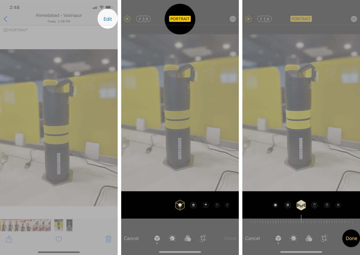 change portrait lighting effects on iphone