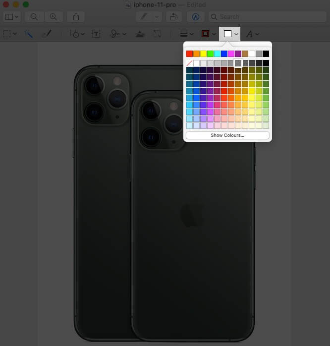 change shape's color in screenshot in mac preview app