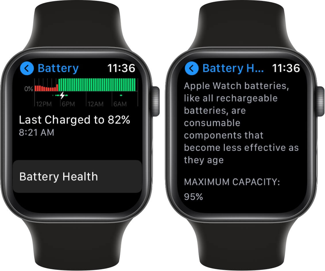 check battery health of apple watch in watchos 7