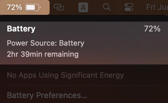 Check Battery Time Remaining Estimation from Menu Bar in macOS Big Sur