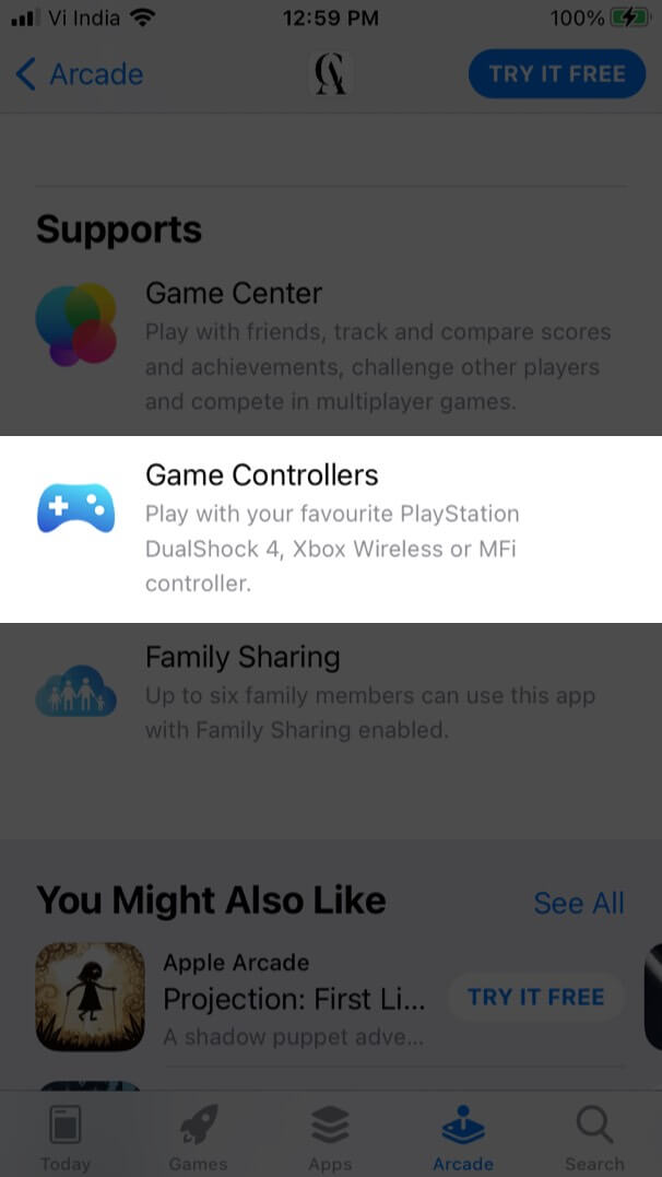 Check Game Controller Support from Support Section in Apple Arcade Game on iPhone