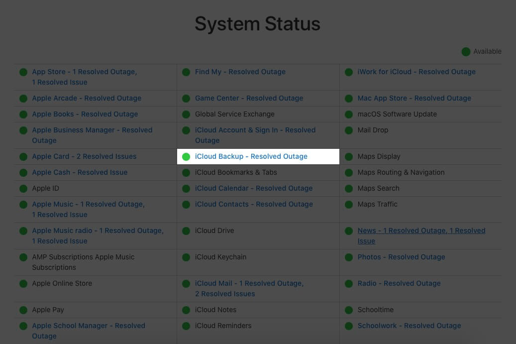 Check iCloud Backup System is Working on Apple System Support Page