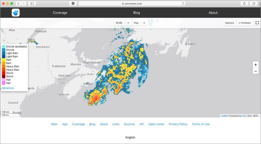 check live weather on rainviewer website