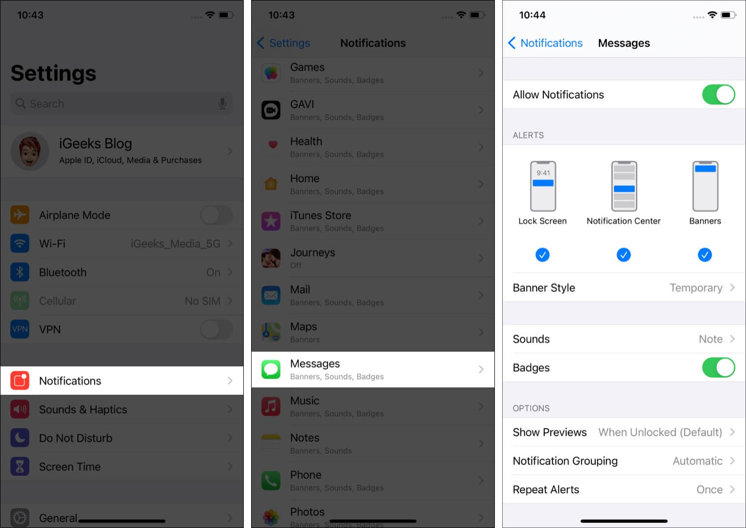 Check Messages app notification settings