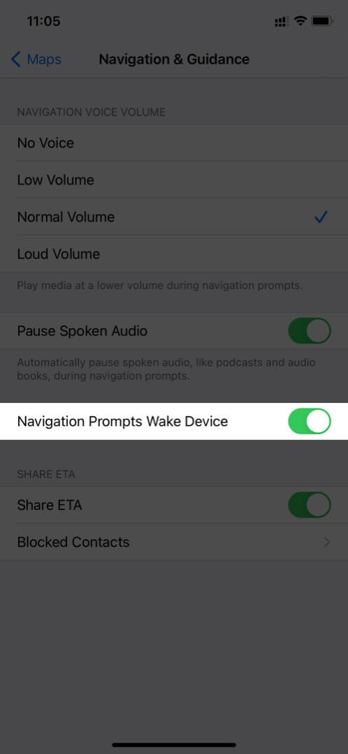 Check Navigation Prompts Wake Device in Apple Maps on iPhone