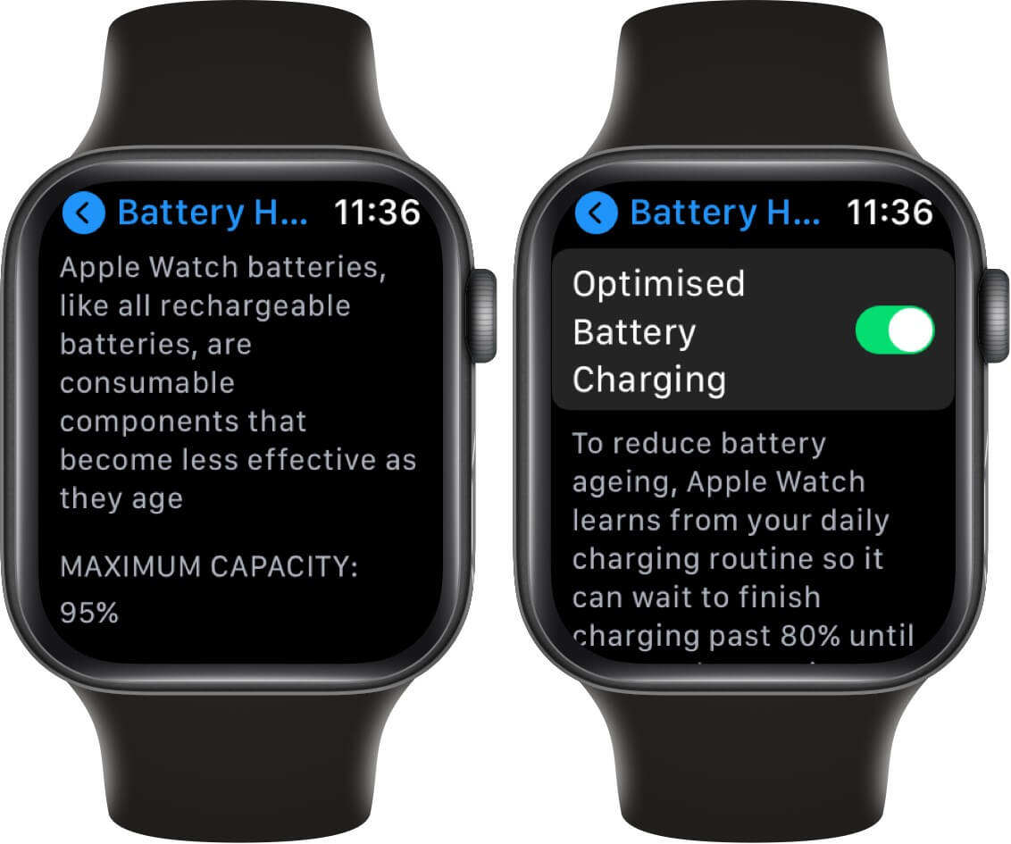 check optimized battery charging is enabled on apple watch