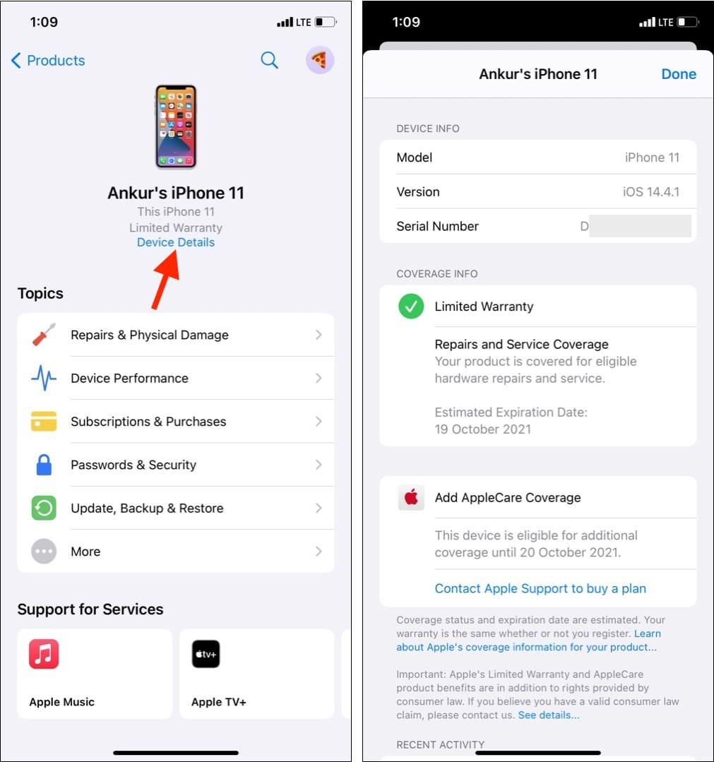 Проверьте гарантию с помощью приложения Apple Support