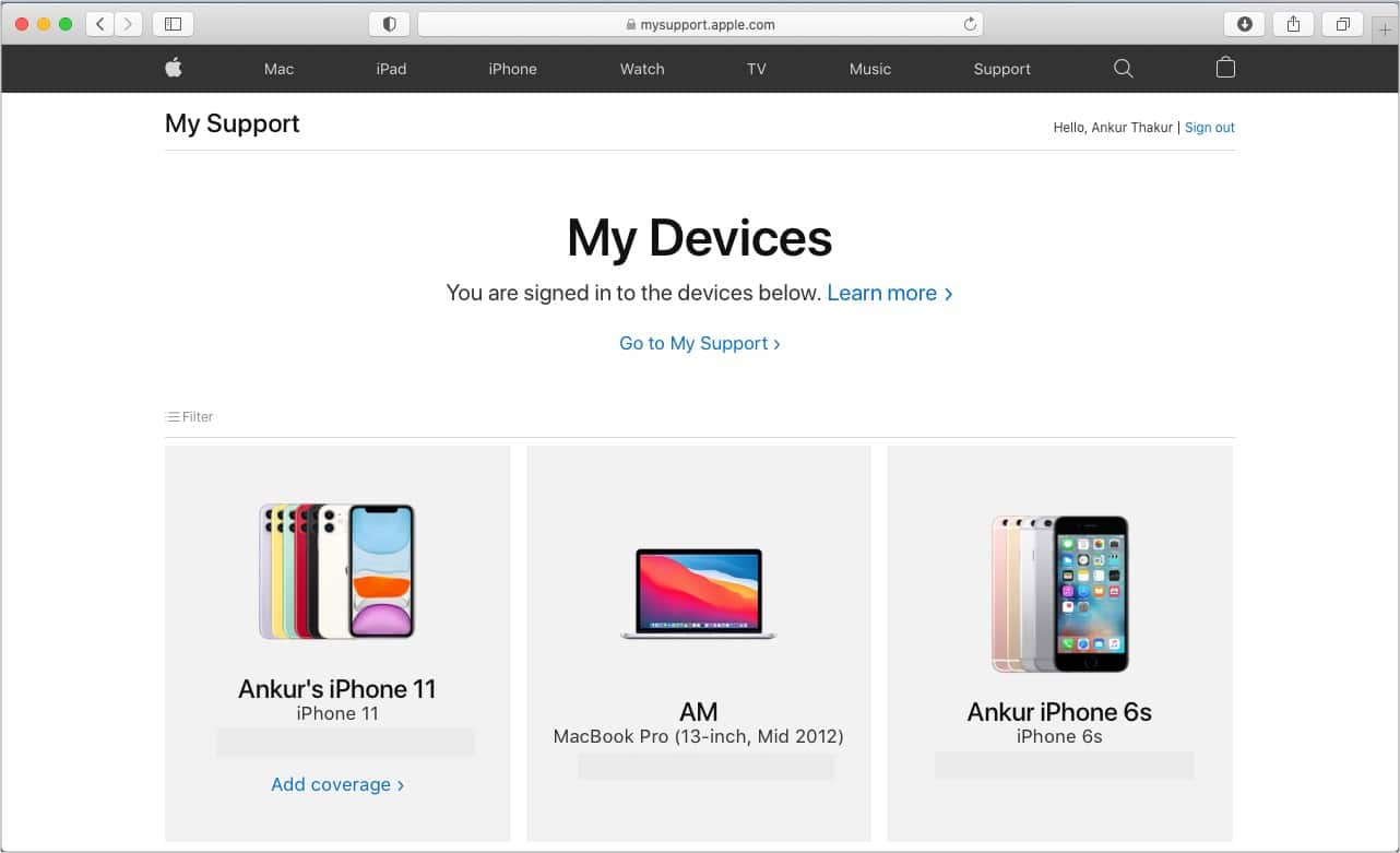 Check warranty using your Apple ID